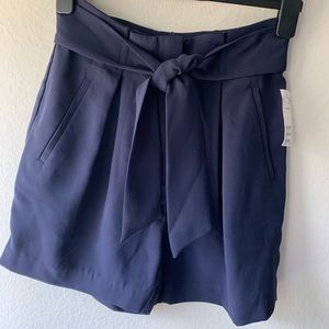 H&M Belted High Rise Blue Shorts